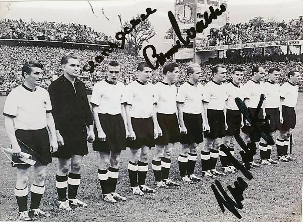 Autograph Horst Eckel Ottmar Walter Hans Schefer Autogramm