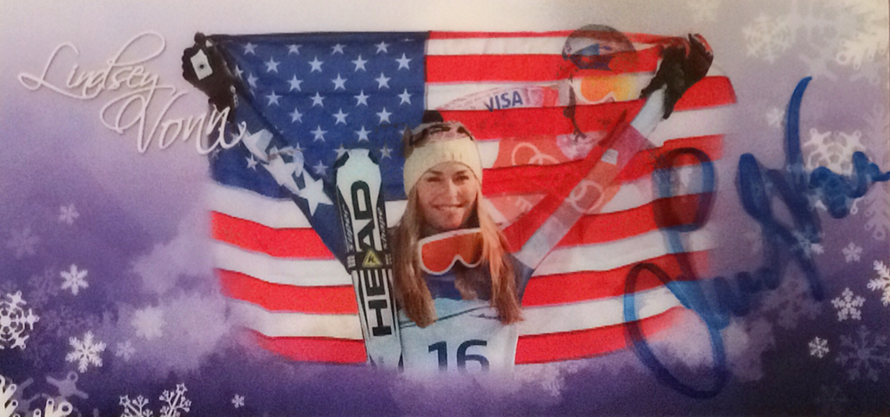 Lindsey Vonn, retired US Skier, 84 Races won, twice World Champion plus 3 silver and 3 bronze Medals, Olympia Gold 2010, 4 times overall worldcup, Autograph bought