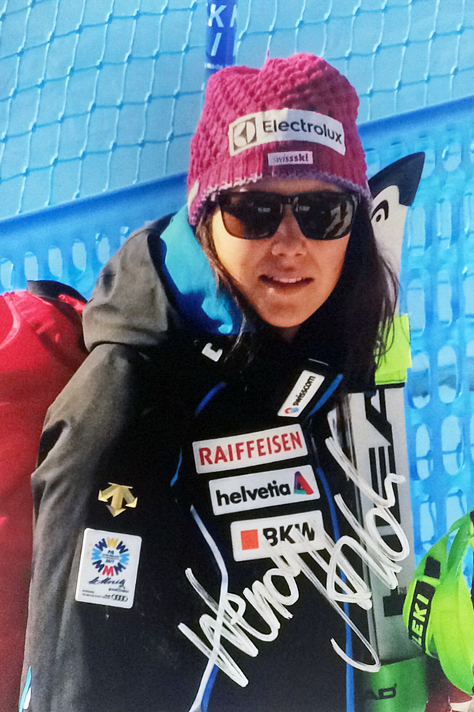Wendy Holdener Switzerland, twice Worldchampion 2019, Alpine Combined Worldchampion and Silver Medal Slalom St. Moritz, Olympic Gold, Silver and Bronze Medal 2018, Picture taken at Team Event 14.02.2017, Autograph by Mail
