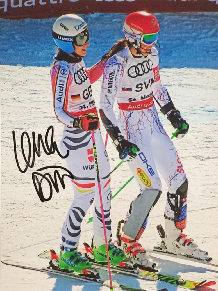 Lena Dürr German, Slalom Specialist, Team Bronze Medal World Championship 2013, won one World Cup Race, Picture taken at Team Event World Championship St. Moritz 2017, Autograph by Mail