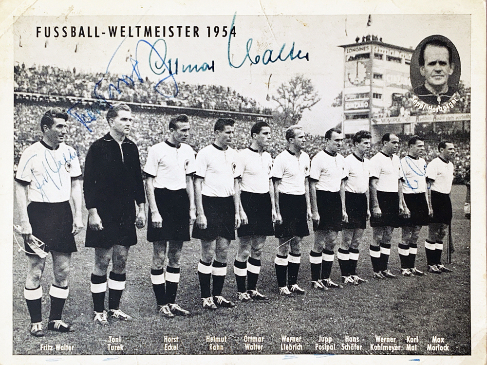 Autograph Ottmar Walter Fritz Walter Toni Turek Karl Mai Autogramm