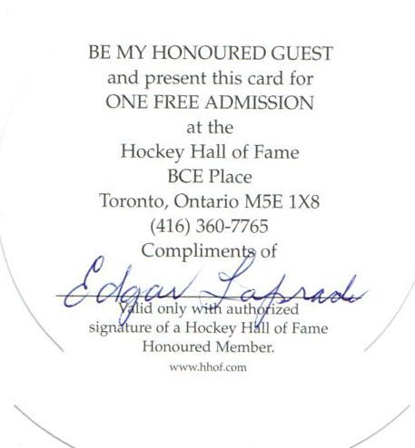 Autograph Edgar Laprade Autogramm HOF Invitation