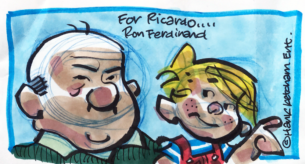 Autograph Cartoon Ron Ferdinand Autogramm
