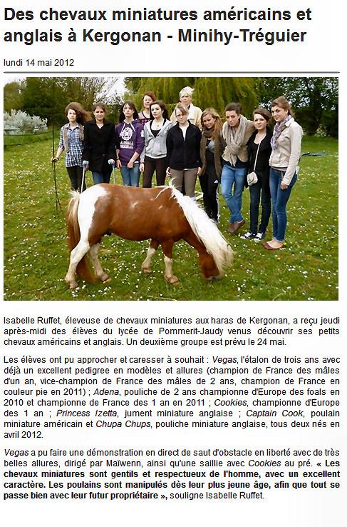 Ouest France le 14 mai 2012
