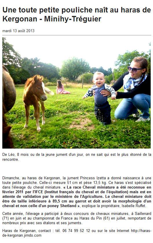 Ouest France internet du 13 août 2013