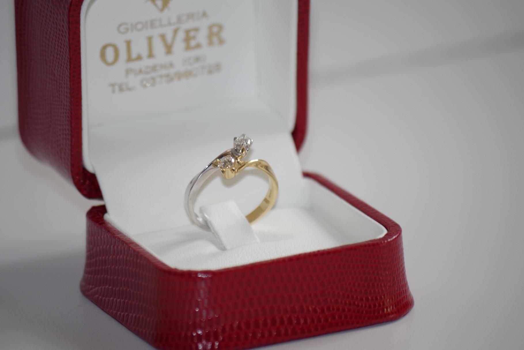 anello in oro bianco e giallo
