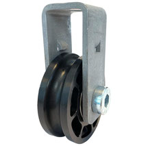 Cable Pulley Ø 52 mm for ropes up to Ø 8 mm with double ball bearing an steel wall mount