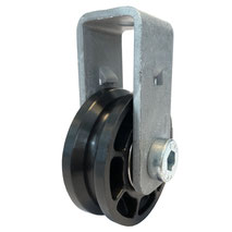 Cable Pulley Ø 52 mm for ropes up to Ø 4 mm with double ball bearing and steel wall mount