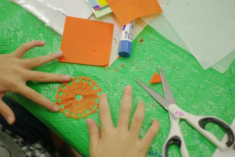 切れ端が小さくてたくさん出てる子の作品は繊細で。