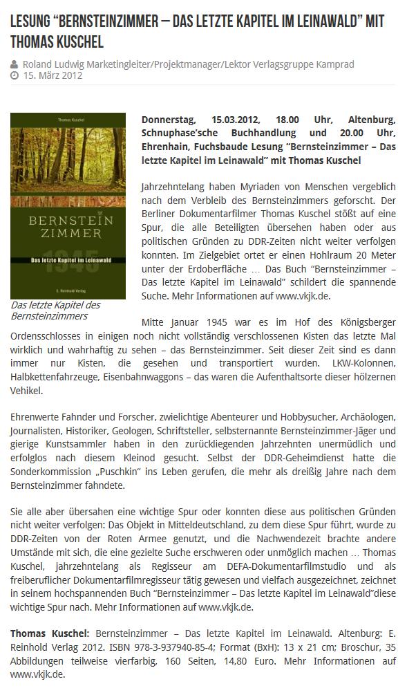 Buchvorstellung / Quelle: http://www.abg-info.de/aktuelles-aus-dem-altenburger-land/lesung-bernsteinzimmer-das-letzte-kapitel-im-leinawald-mit-thomas-kuschel/