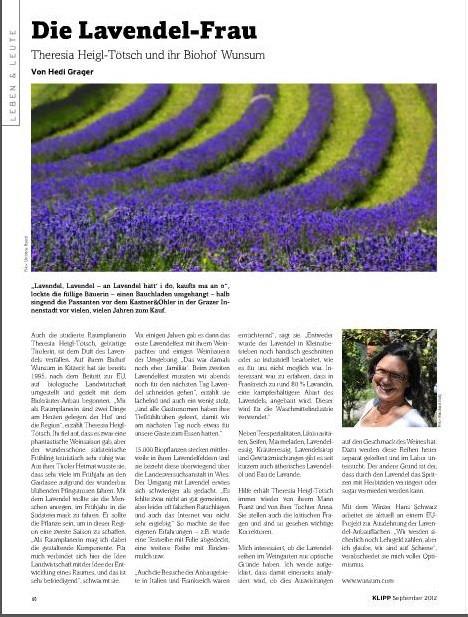 Mein Lavendel Bild - KLIPP MAGAZIN, September 2012