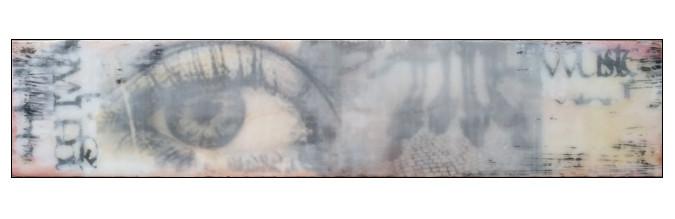 wohin nur., Pressspanplatte, 18 x 76 cm; in Privatbesitz