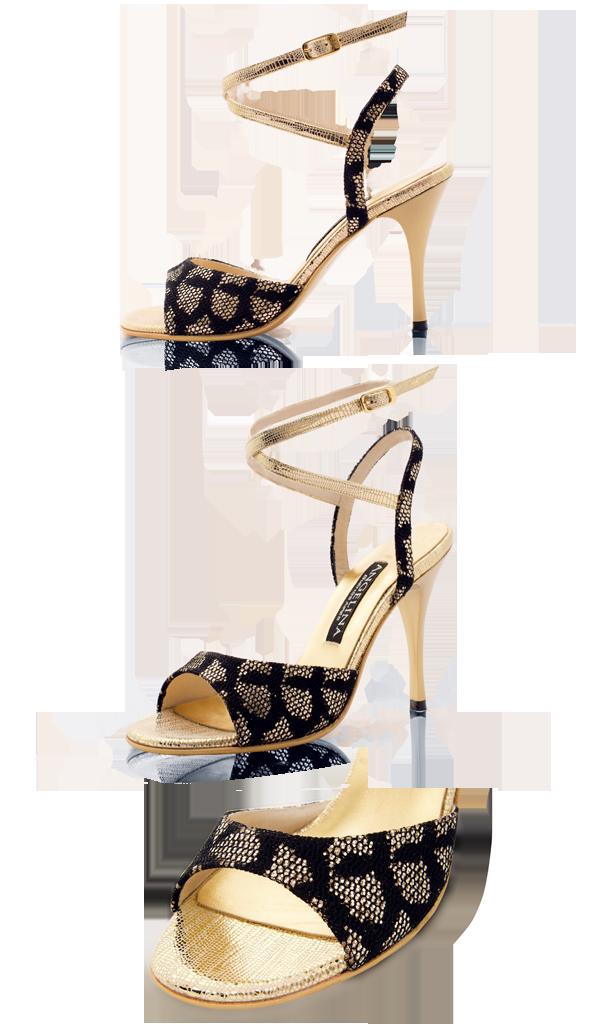 TBW-430-Charol Coral x Lame Oro - ANGELINA SHOES | ピンヒール, 靴