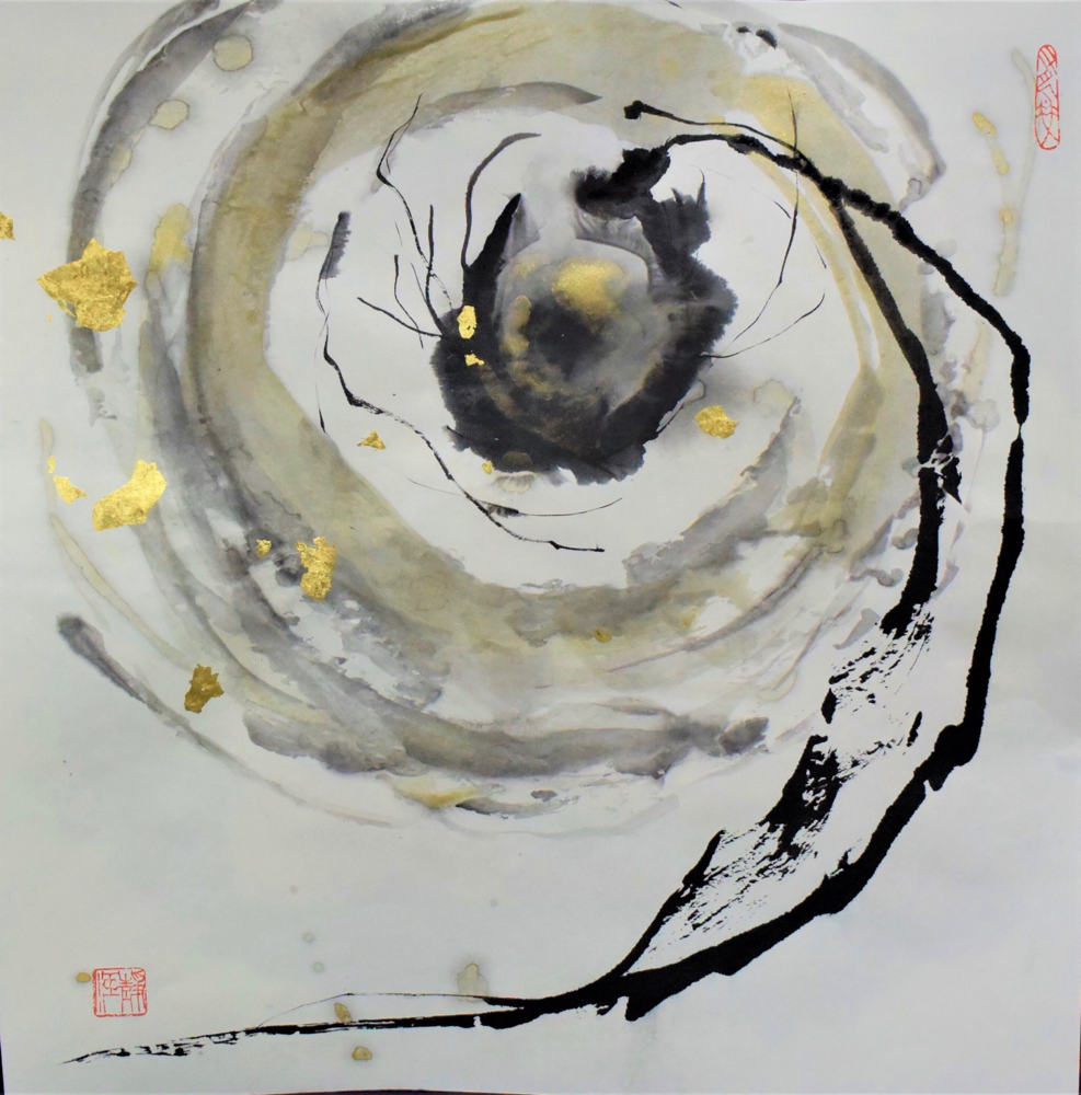 「日月」 50×50㎝ 「The Sun and the Moon」