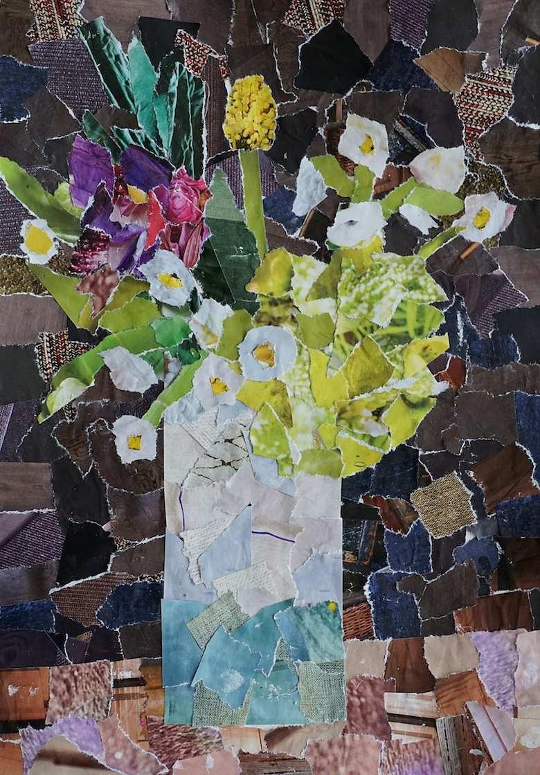 Blumenbild aus Zeitungsschnipseln (by develloppa)