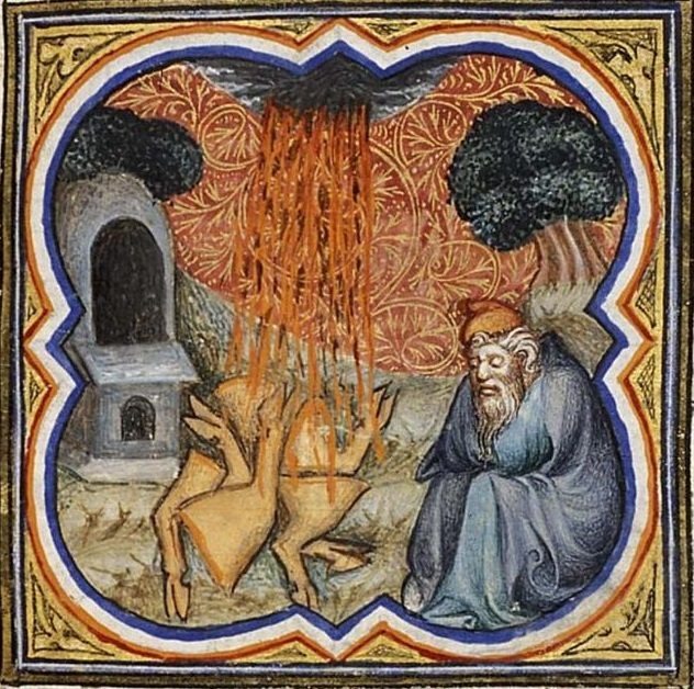 Le feu passant entre les morceaux lors de l'alliance de Dieu avec Abram (Den Haag, Museum Meermanno-Westreenianum, Manuskript 10 B 23, fol. 22r)