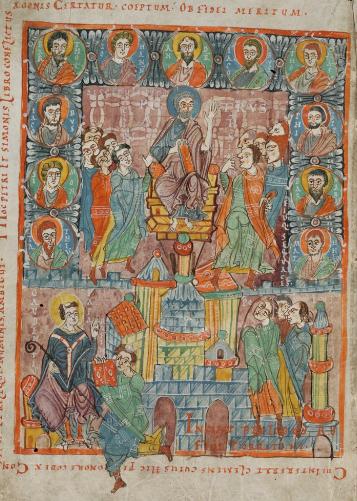 Illustration einer Szene aus den Clementinen: Petrus' Kampf gegen Simon Magus (Cod. Sangallenis 86, 950–970 n. Chr.)