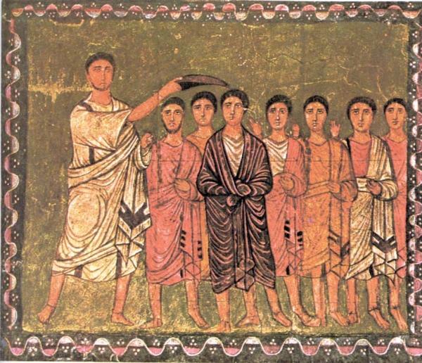 Die Salbung König Davids durch Samuel (Wandmalerei in der Synagoge von Dura)
