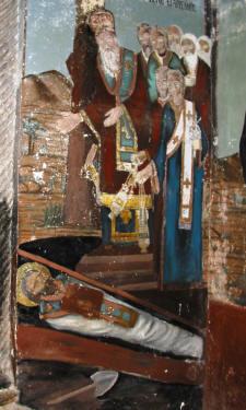 Die Auffindung des Grabes (Fresco im Kloster St. Barnabas bei Salamis)