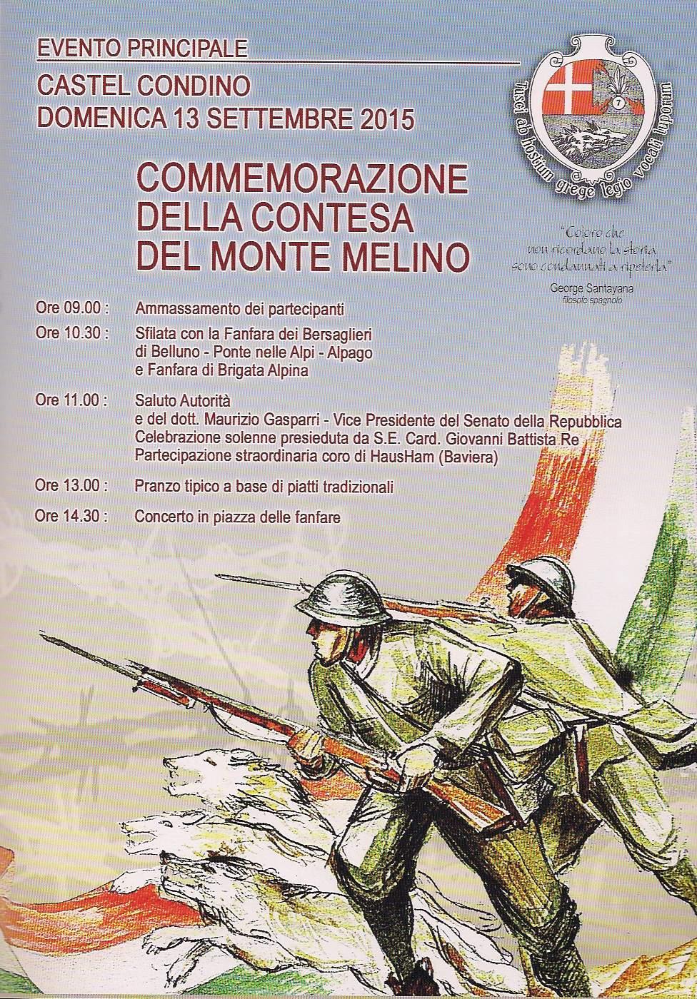 Manifesto commemorazione della contesa del Monte Melino 2015