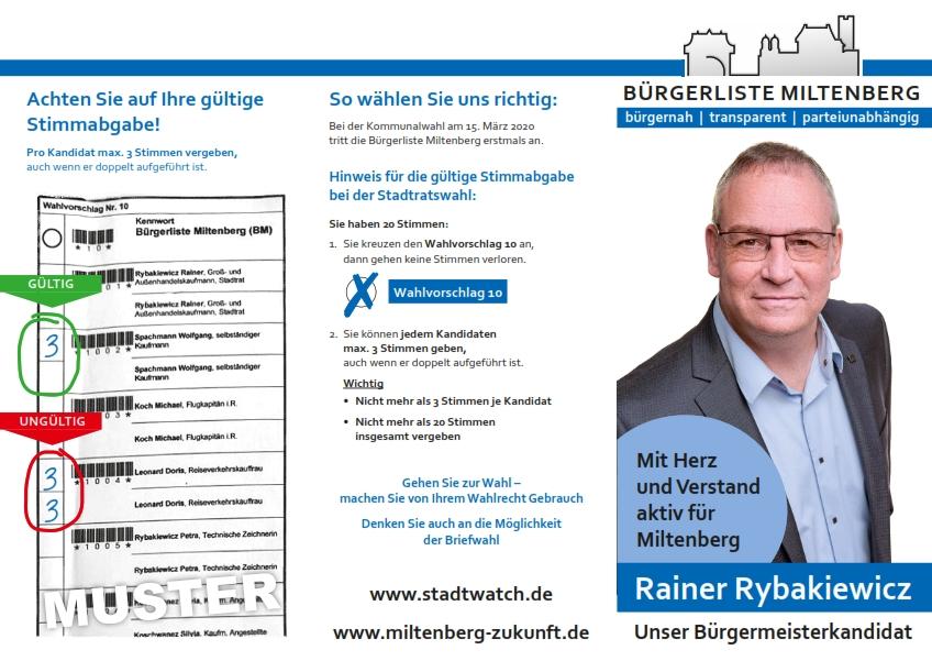 Wahlanleitung Kommunalwahl 2020 Stadtrat Miltenberg