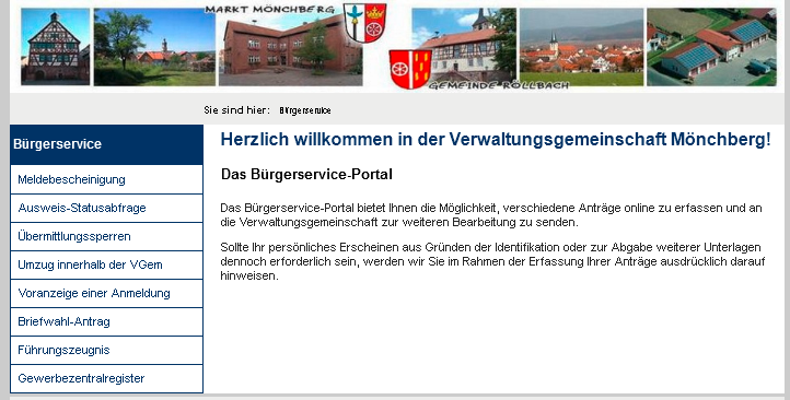 Online Dienste Verwaltungsgem. Mönchberg