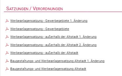 Satzungen Stadt Miltenberg zu Gestaltung von Werbeschildern