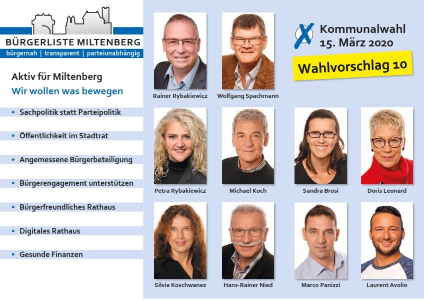 Kandidaten Stadtrat Bürgerliste Miltenberg