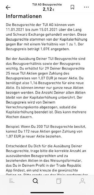 Informationen zum TUI Bezugsrecht bei Trade Republik