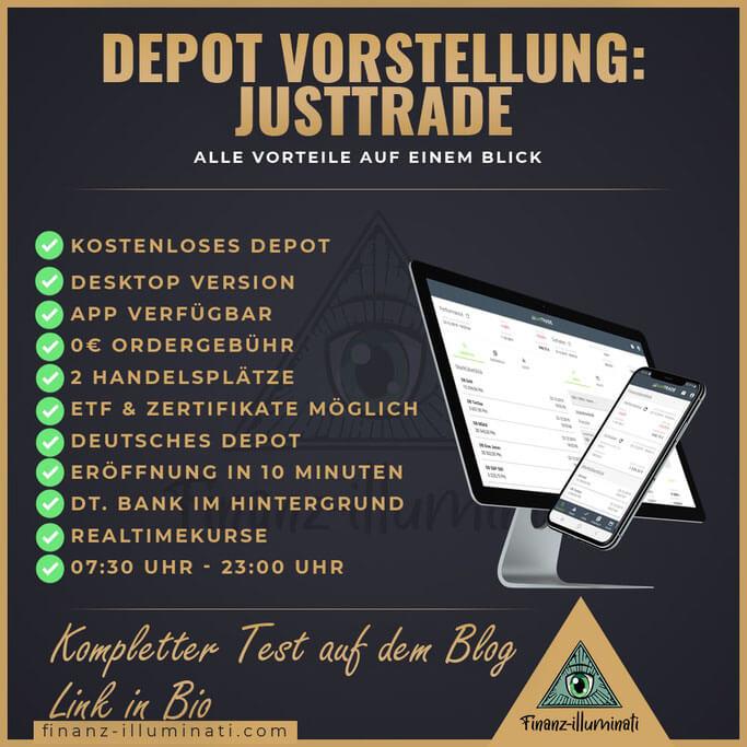 Bei JustTrade kostenlos Aktien handeln