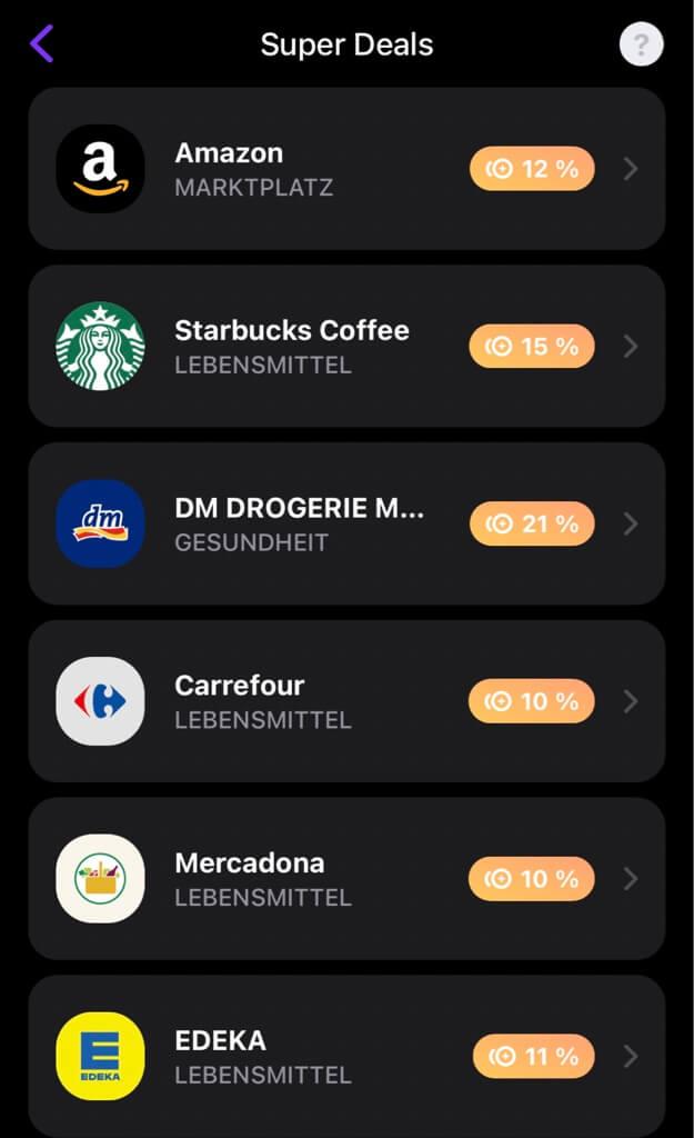 Vivid Money Bonus: Amazon, Starbucks, DM Drogerie Markt, Carrefour, Mercadona, Edeka,