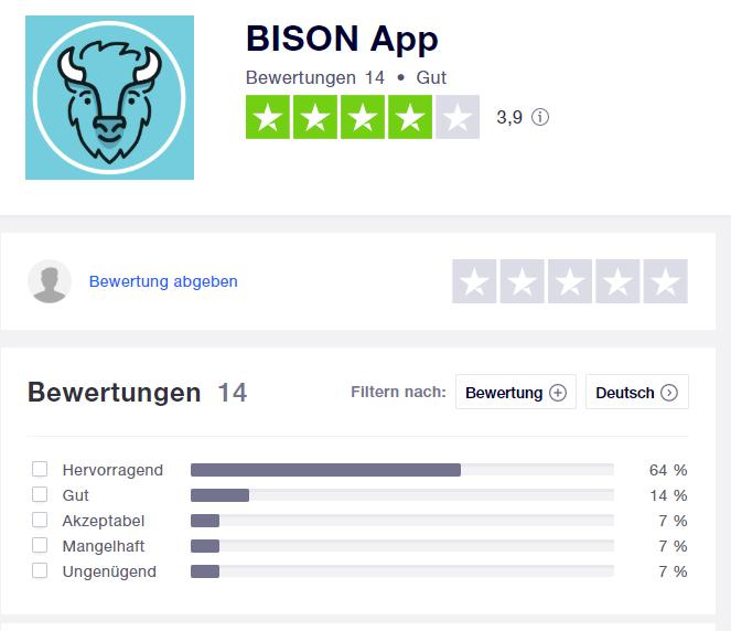 Bison App Bewertungen von Trust Pilot