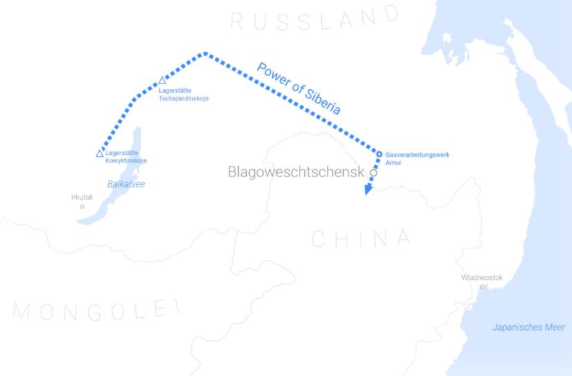 Lageplan Power of Siberia - Bildquelle: gazprom.com Aktien Analyse