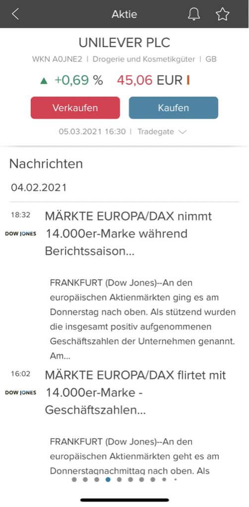 Consorsbank App Nachrichten zu Aktien
