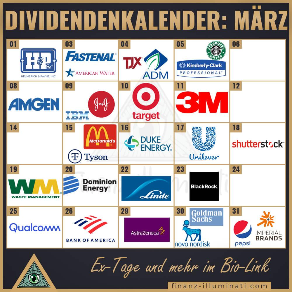 Dividendenkalender: Welche Unternehmen zahlen im März 2021 eine Dividende?