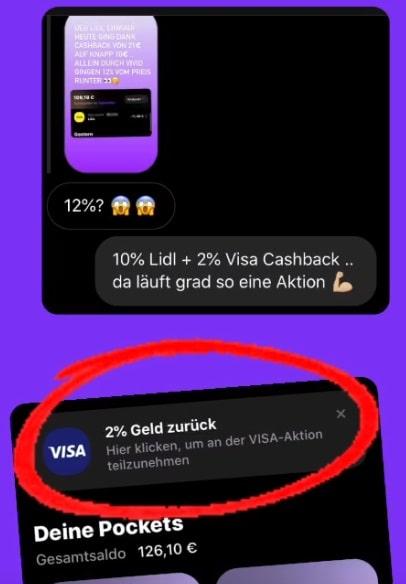 Vivid Money mit Visa Cashback Aktion kombinieren