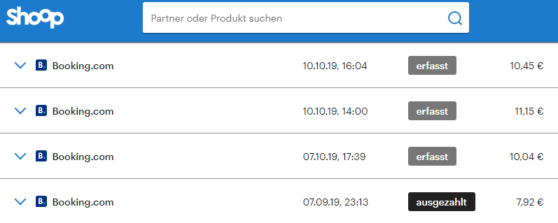 Übersicht meiner Booking.com Gutschriften auf shoop.de Cashback