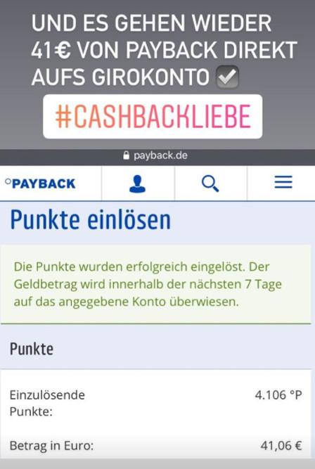 Payback Punkte auf Konto überweisen