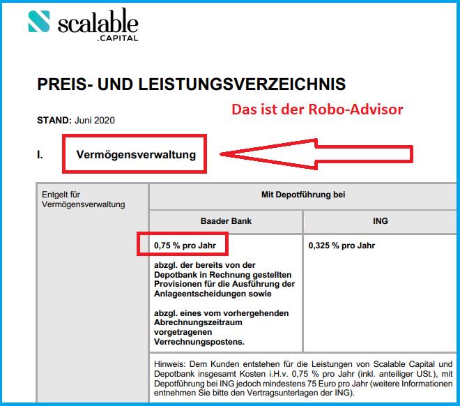 Screenshot aus dem Preis-Leistungsverzeichnis von Scalable