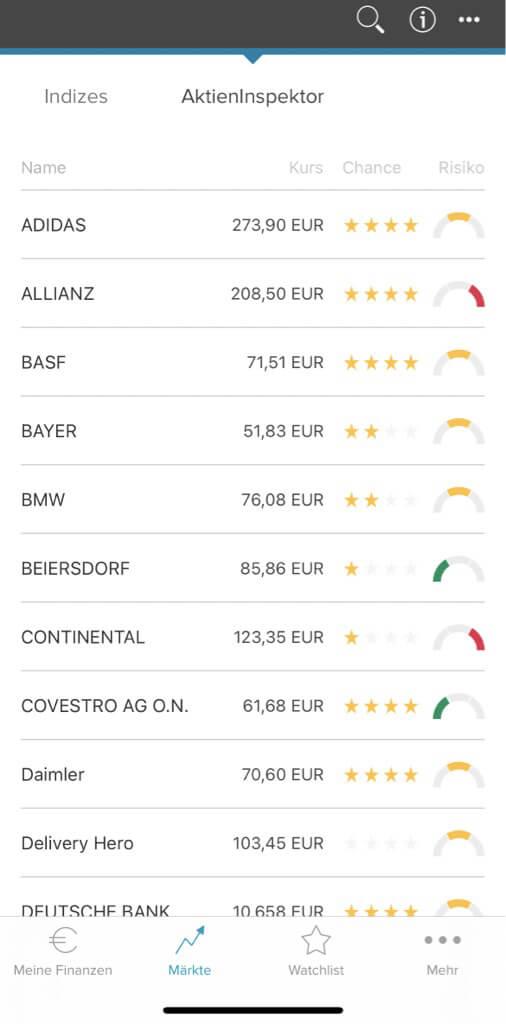 Consorsbank App Screenshot des AktienInspektors