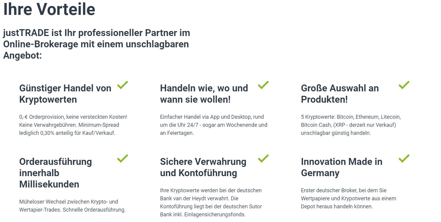 JustTrade Depot - Kryotpwährungen kaufen - Erfahrungen und Test