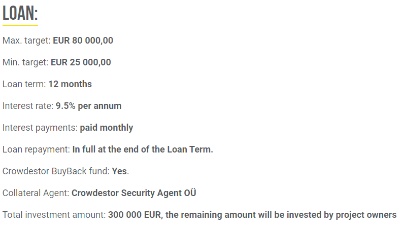 Screenshot der Loan Infos P2P