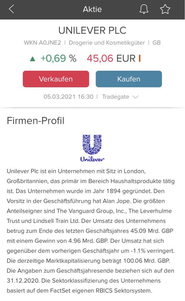 Firmen Profil von Aktien in der Consorsbank App