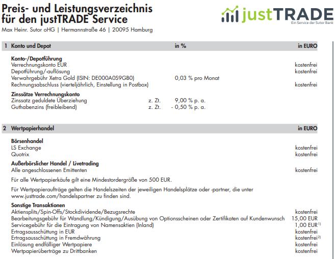Preis-Leistungsverzeichnis für den JustTrade Depot Broker