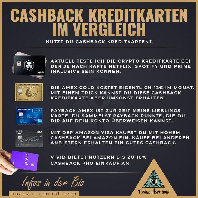 die besten Kreditkarten für Cashback mit MCO Crypt.com, American Express, Visa von Amazon und Vivid Money