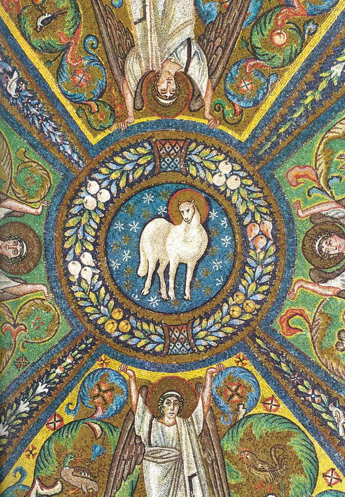 Christus, das Lamm Gottes - spätantikes christliches Mosaik aus Ravenna (Italien).
