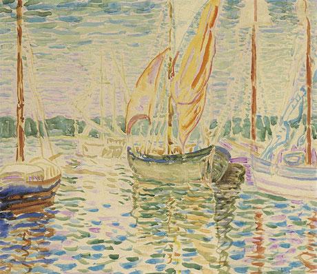 Helene Funke; Segelboote im Hafen; Mischtechnik auf Papier; 29 x 33 cm;