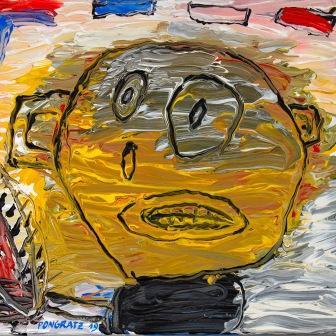 PETER PONGRATZ, Selbstporträt, 2019, Acryl auf Leinwand, 45x50cm