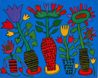 PETER PONGRATZ, Topfpflanzen, 2015, Acryl auf Leinwand, 80x100cm