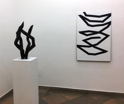 ROBERT SCHAD, Skulpturen Vierkantstahl 45mm massiv / Zeichnung Lack auf Blech, 2019-2020